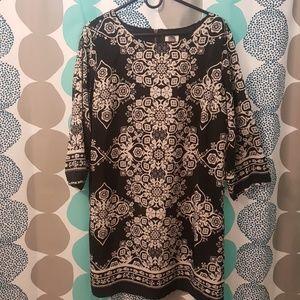 Black White floral Dress Size XL